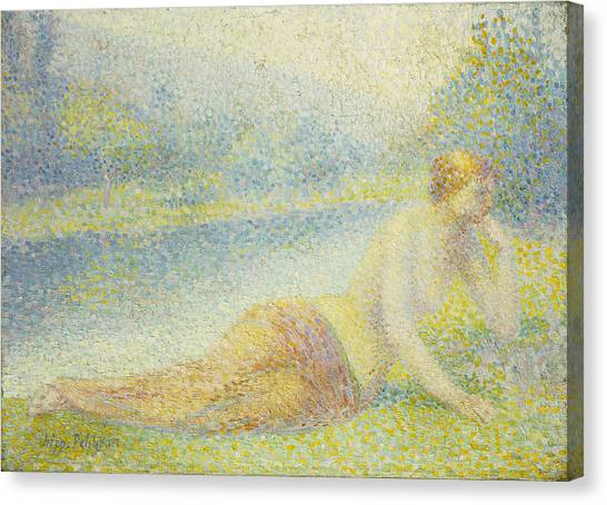 Post-impressionism Canvas Print - Reclining Nude by Hippolyte Petitjean