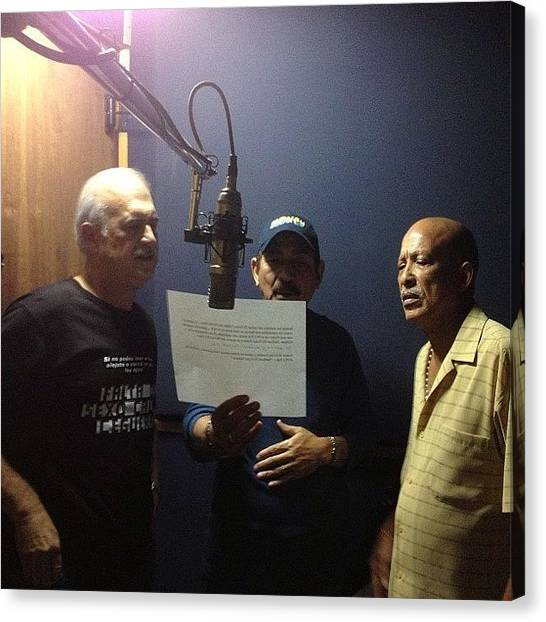 Salsa Canvas Print - Recording With Jerry, Charlie & Papo by Ivan Belvis
