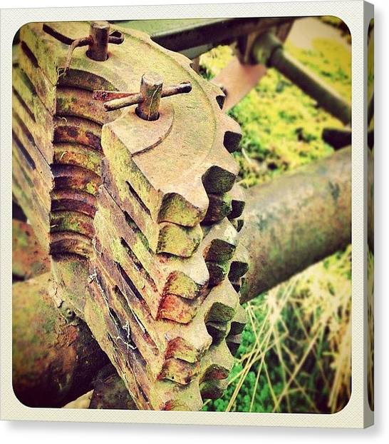 Machinery Canvas Print - Recycled Cogs! #ferrous #decay #steel by Robert Campbell