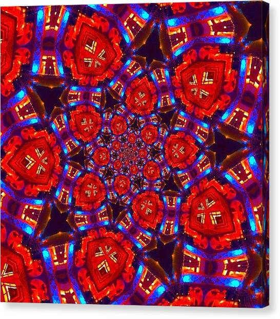 Mandala Canvas Print - #red And #blue #crazy #fractalart by Pixie Copley