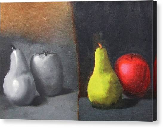 Red Apple Pears And Pepper In Color And Monochrome Black White Oil Food Kitchen Restaurant Chef Art Canvas Print