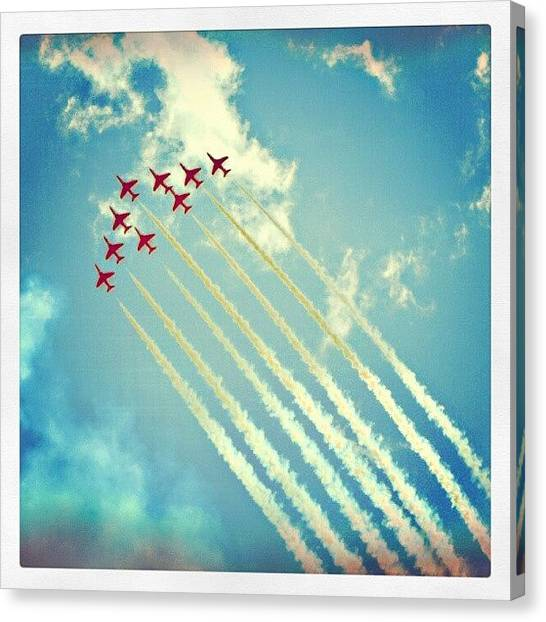 Jets Canvas Print - #red #arrows From The #2009 #cosford by Alexandra Cook