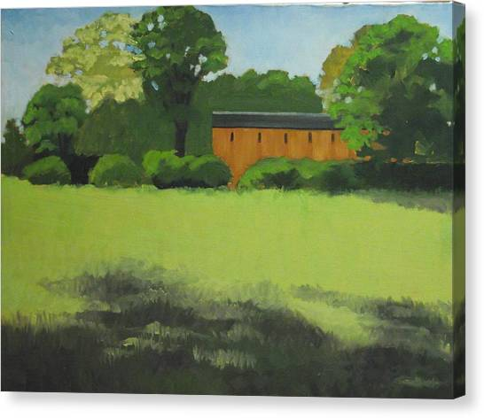 Red  Barn  In  Meadow Canvas Print by Robert Rohrich