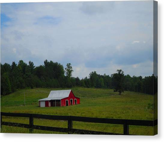 Red Barn Canvas Print by Victoria Ashley