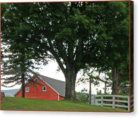 Red Barn White Fence Canvas Print