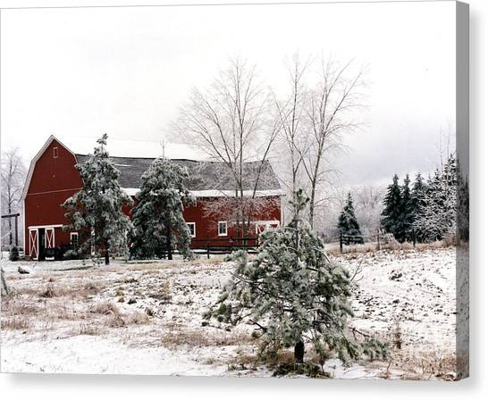 Country Roads Canvas Print - Michigan Red Barn Winter Scene Snow Landscape by Kathy Fornal
