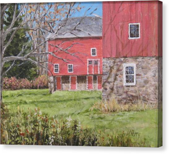 Red Barn With Shadows Canvas Print