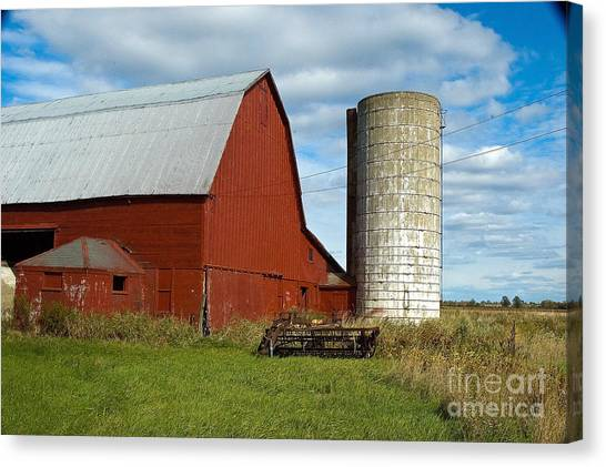 Red Barn With Silo Canvas Print by Ginger Harris