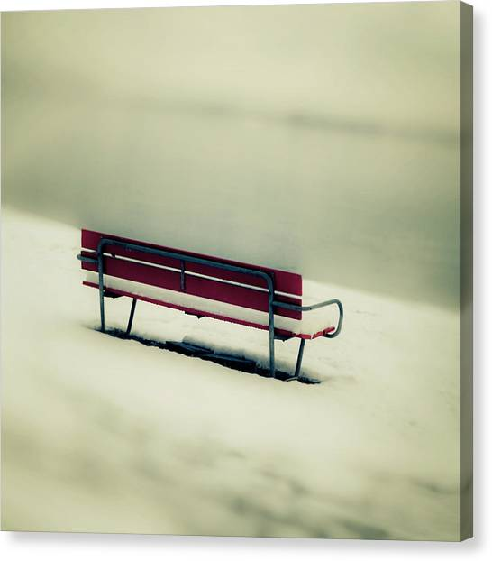 Snow Bank Canvas Print - Red Bench by Joana Kruse