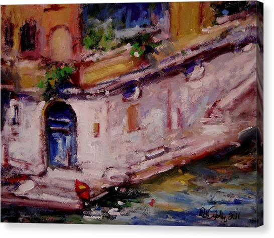 Red Boat Blue Door Canvas Print by R W Goetting