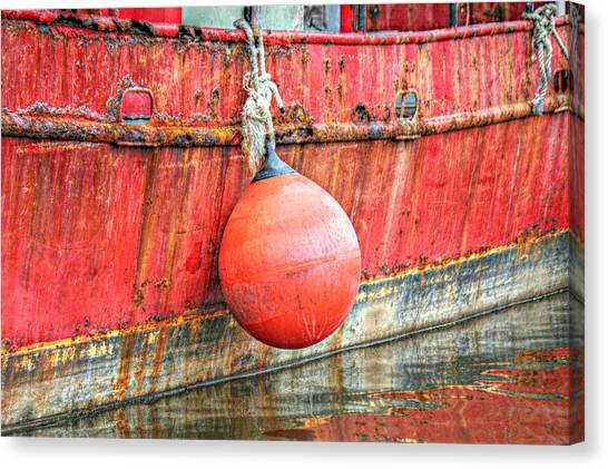 Red Boat With Bumper Canvas Print