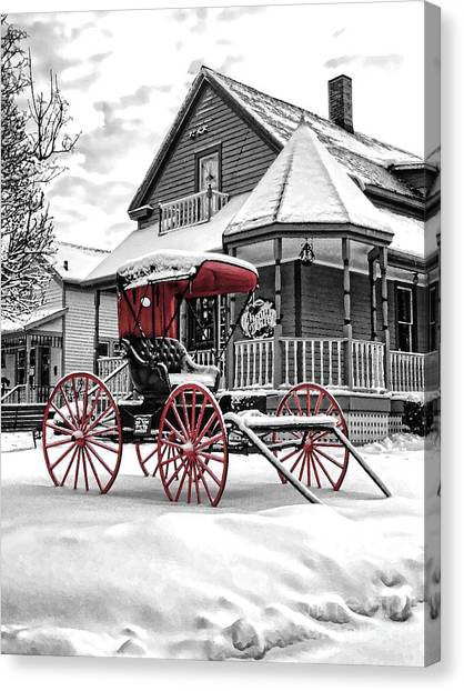 Red Buggy At Olmsted Falls - 2 Canvas Print