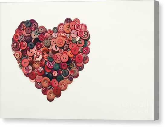 Red Button Heart Canvas Print by Catherine MacBride