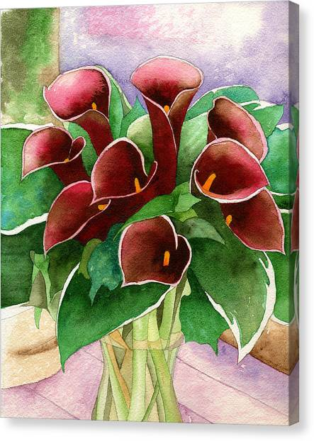 Red Calla Lilies Canvas Print by Eunice Olson