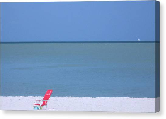 Red Chair And Sailboat Canvas Print