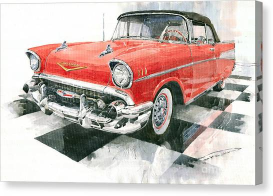 Auto Canvas Print - Red Chevrolet 1957 by Yuriy Shevchuk