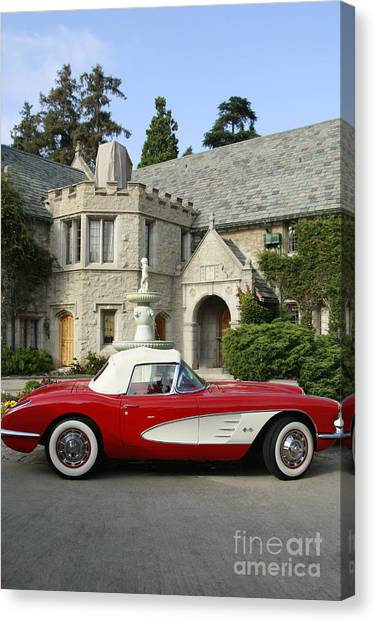 Red Corvette Outside The Playboy Mansion Canvas Print