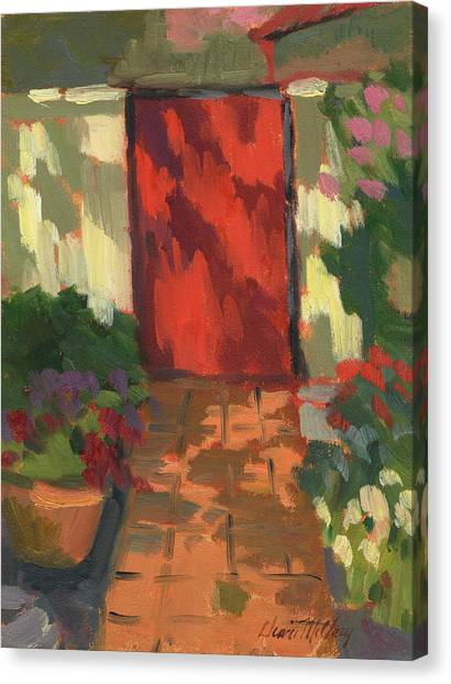 Old Wooden Door Canvas Print - Red Door - Shadow And Light by Diane McClary