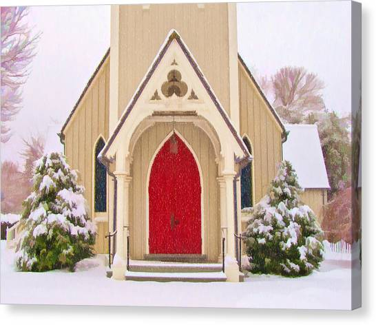 Red Door Church Canvas Print