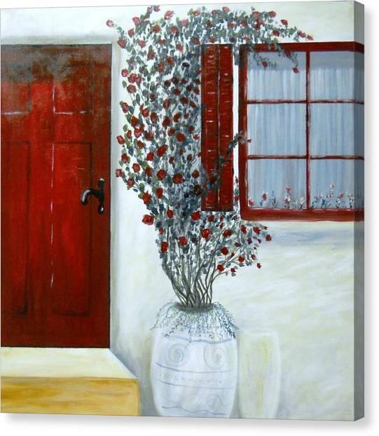 Red Door Rose Canvas Print