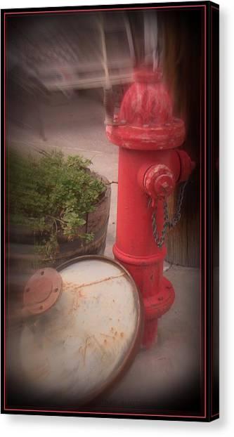 Red Faithful Hangin' At The Corner Canvas Print
