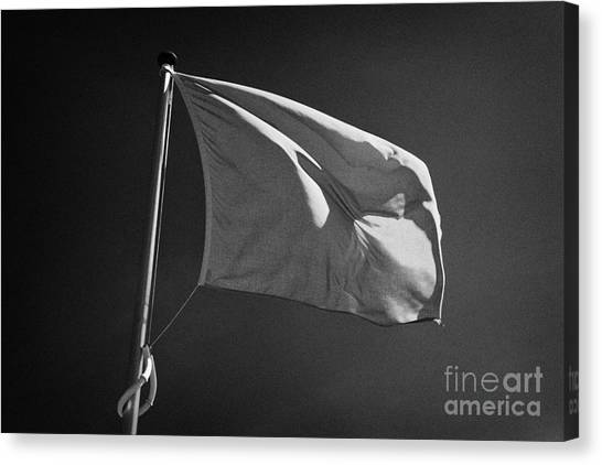 Hanoverian Canvas Print - red flag flying marking the hanoverian english line Culloden moor battlefield site highlands scotl by Joe Fox