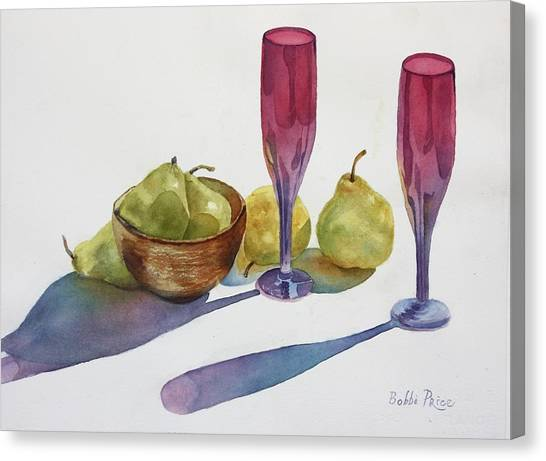 Red Flutes And Pears Canvas Print by Bobbi Price