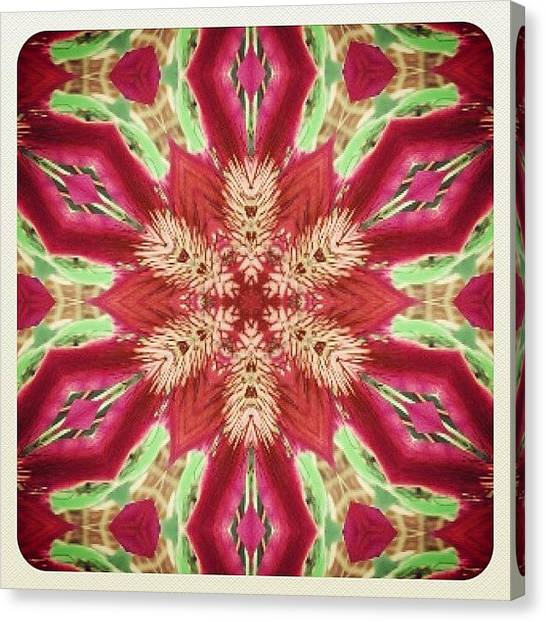 Mandala Canvas Print - #red #green And #pink #hippie #mandala by Pixie Copley