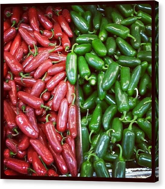 Pepper Canvas Print - #red #green #peppers by Leticia Moreno