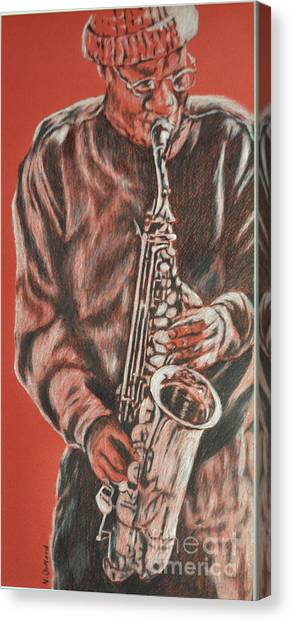 Red Hot Sax Canvas Print