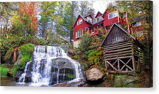 Red House By The Waterfall 2 Canvas Print