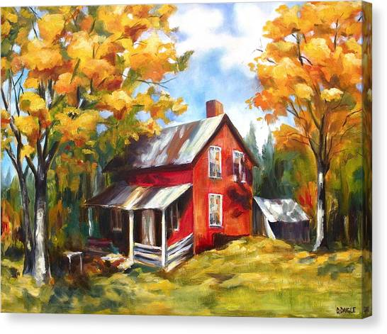Red House In Autumn Canvas Print
