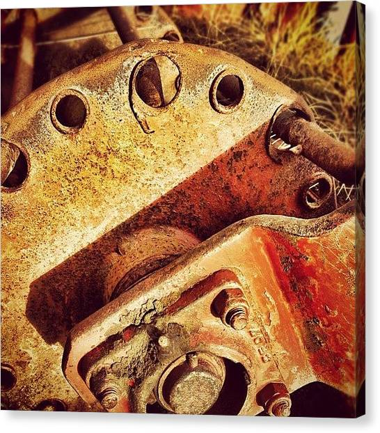 Machinery Canvas Print - Red Mower #rusty #rust #machinery by Robert Campbell