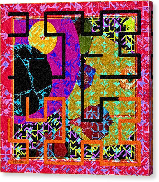 Canvas Print featuring the digital art Red Multi Maze by Dee Flouton