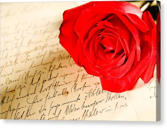 Red Rose Over A Hand Written Letter Canvas Print