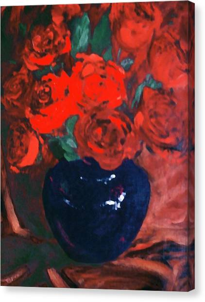 Canvas Print featuring the painting Red Roses Blue Vase by G Linsenmayer