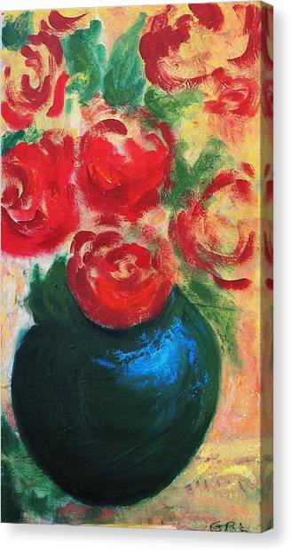 Red Roses In Blue Vase Canvas Print