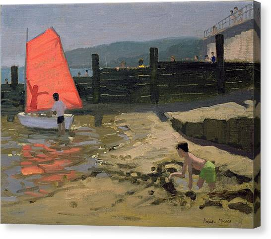 Sand Castles Canvas Print - Red Sail Isle Of Wight by Andrew Macara