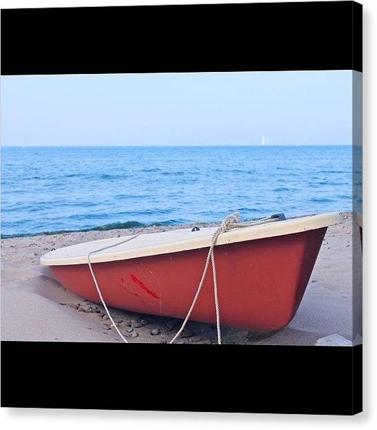 Sailboats Canvas Print - Red Sailboat On The Beach by Justin Connor