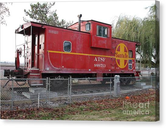 Old Caboose Canvas Print - Red Sante Fe Caboose Train . 7d10329 by Wingsdomain Art and Photography