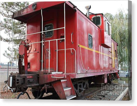 Old Caboose Canvas Print - Red Sante Fe Caboose Train . 7d10330 by Wingsdomain Art and Photography