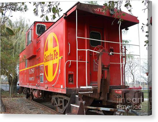 Old Caboose Canvas Print - Red Sante Fe Caboose Train . 7d10332 by Wingsdomain Art and Photography