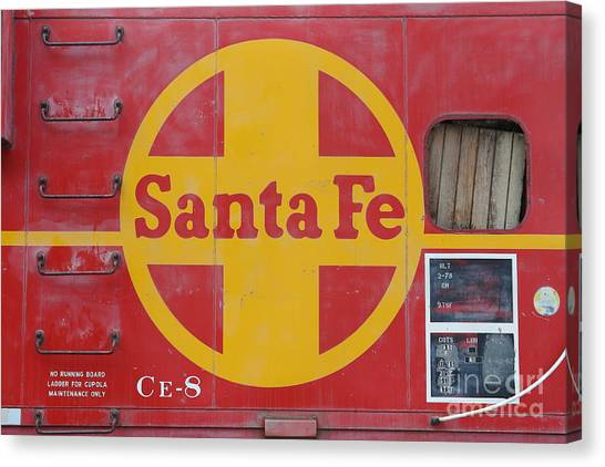 Old Caboose Canvas Print - Red Sante Fe Caboose Train . 7d10333 by Wingsdomain Art and Photography