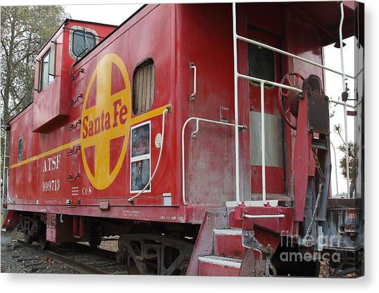 Old Caboose Canvas Print - Red Sante Fe Caboose Train . 7d10334 by Wingsdomain Art and Photography