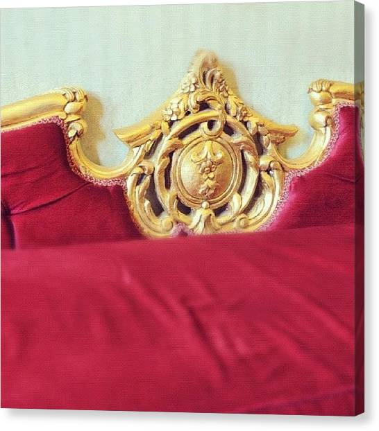 Gold Canvas Print - Red Sofa by Matthias Hauser