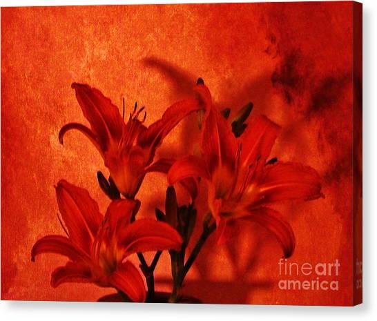 Red Tigerlilies Canvas Print by Marsha Heiken