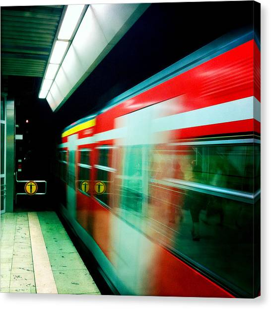 London Canvas Print - Red Train Blurred by Matthias Hauser