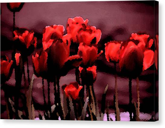 Red Tulips At Dusk Canvas Print