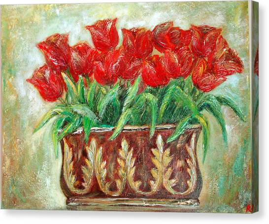 Red Tulips On The Wall Canvas Print