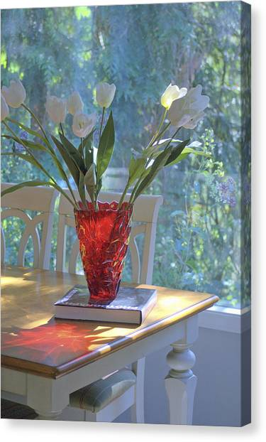 Red Vase With Flowers In Window Canvas Print